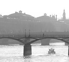 bridge over the river seine - b&w version by kchamula