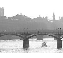 bridge over the river seine - b&w version Photographic Print