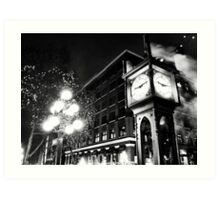 Gastown Clock (black & white) Art Print