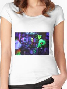 alien abduction glowing photo Women's Fitted Scoop T-Shirt