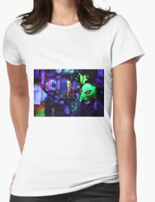 alien abduction glowing photo Womens Fitted T-Shirt