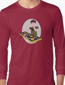 Cartoon DJ on Decks Long Sleeve T-Shirt