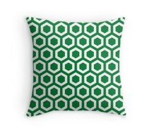 Green Hexagons Throw Pillow