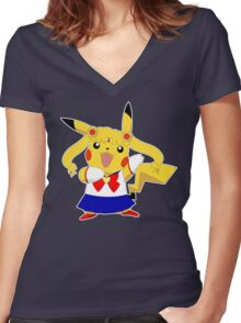 Sailor Pikachu Women's Fitted V-Neck T-Shirt