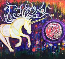Into the Vortex - Unicorn Spiral Inner Power Painting by mellierosetest