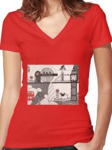 Pug in the city Women's Fitted V-Neck T-Shirt