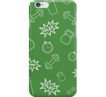 Seamless fitness pattern, sport and fit background  iPhone Case/Skin