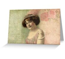 Vintage Woman Portrait Pink and Green Greeting Card