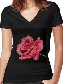 Pink Rose Laying on a Dark Background Women's Fitted V-Neck T-Shirt
