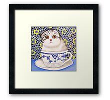 Kitten in Cup - Scottish Fold Framed Print