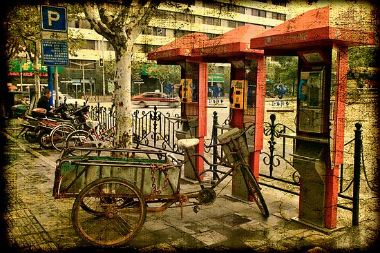Telephone Parking in Shanghai by Wendi Donaldson Laird