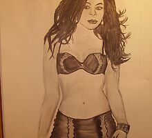 LIGHTS CAMERA ACTION (((( LINGERIE )))) (((  MODEL  ))) SKETCHED WITH CHARCOAL by TSykes