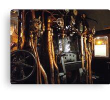 Engine compartment steam train Canvas Print