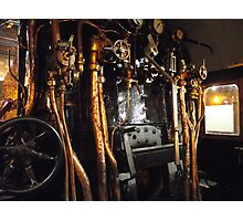 Engine compartment steam train Photographic Print