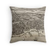 Vintage Pictorial Map of St. Augustine FL (1885) Throw Pillow