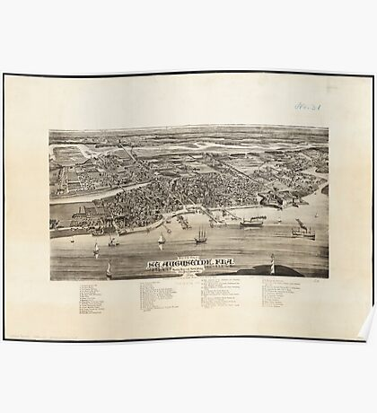 Vintage Pictorial Map of St. Augustine FL (1885) Poster