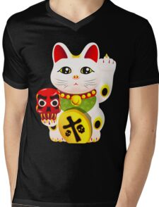 Maneki neko f u Mens V-Neck T-Shirt