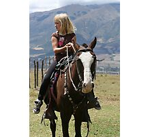 Young Blond Girl on a Horse Photographic Print