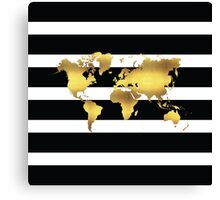 black stripes and gold world map Canvas Print