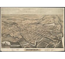 Vintage Pictorial Map of St. Thomas Ontario (1875) Photographic Print
