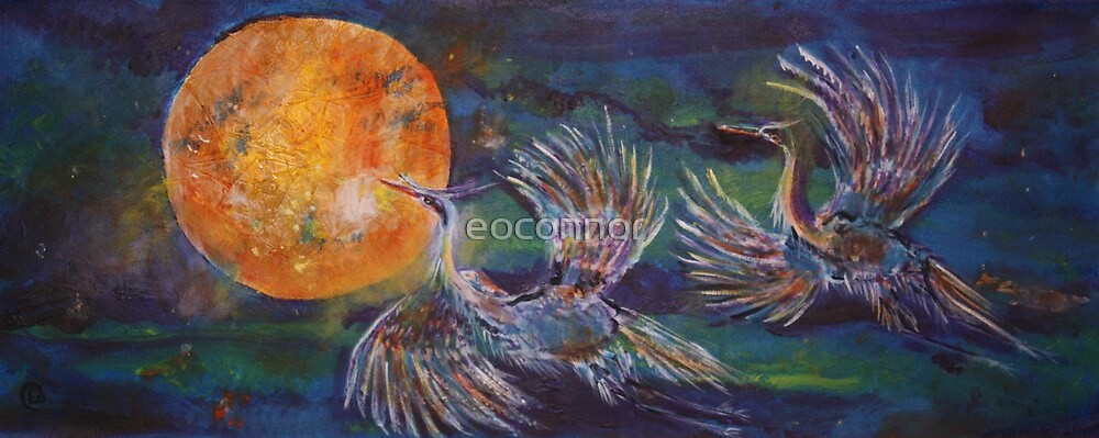 FULL MOON FLYING HERONS by eoconnor