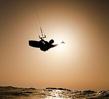 Kitesurfing at sunset by PhotoStock-Isra