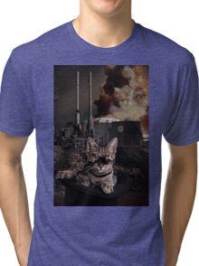 Steampunk Sid Kitten Overlord Tri-blend T-Shirt