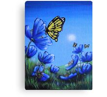 Butterfly on Blue Poppy Canvas Print