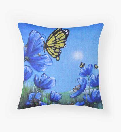 Butterfly on Blue Poppy Throw Pillow