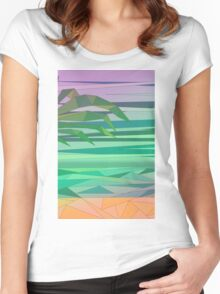 dream island in the middle of the ocean Women's Fitted Scoop T-Shirt