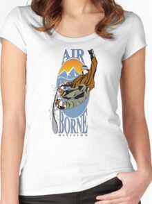 Snowboard Snow Board Air Borne Division Women's Fitted Scoop T-Shirt