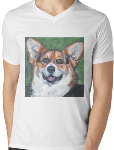Pembroke Welsh Corgi Fine Art Painting Mens V-Neck T-Shirt