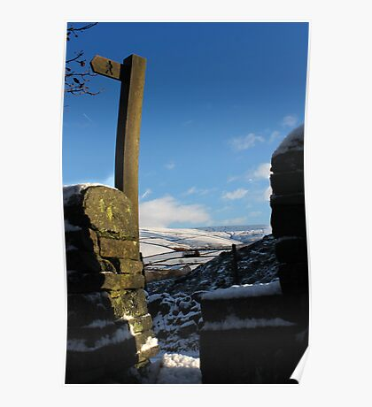 Stone Stile above Gnat Hole, Glossop Poster