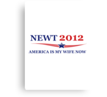 NEWT 2012: America Is My Wife Now Canvas Print