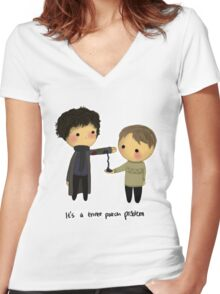 Three-patch problem. Women's Fitted V-Neck T-Shirt