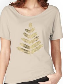 Leaflets – Turquoise & Gold Women's Relaxed Fit T-Shirt
