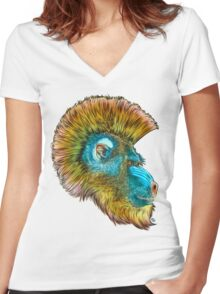 Mohawk Mandrill Women's Fitted V-Neck T-Shirt