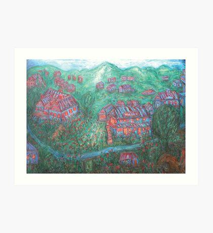 Green Village Art Print