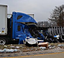 Semis Wreck After Ice Storm by Sheryl Gerhard
