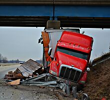 Semi Slides into Concrete Pillar During Ice Storm by Sheryl Gerhard
