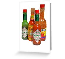 many hot sauces Greeting Card