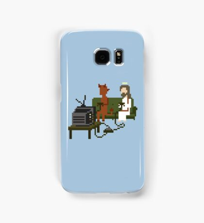 Jesus And Devil Playing Video Games Pixel Art Samsung Galaxy Case/Skin
