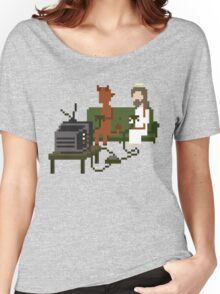 Jesus And Devil Playing Video Games Pixel Art Women's Relaxed Fit T-Shirt