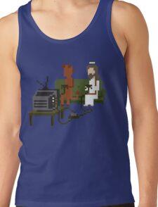Jesus And Devil Playing Video Games Pixel Art Tank Top