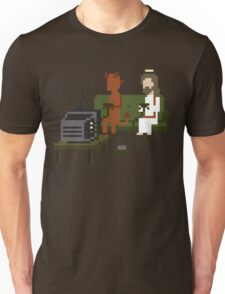 Jesus And Devil Playing Video Games Pixel Art T-Shirt