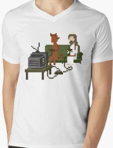 Jesus And Devil Playing Video Games Pixel Art Mens V-Neck T-Shirt