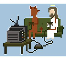 Jesus And Devil Playing Video Games Pixel Art Photographic Print