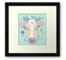 Cosmic Vegan Cow. Framed Print