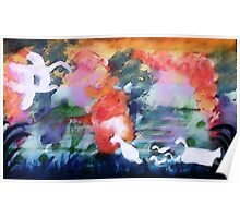 Swamp scene with geese and family, watercolor Poster