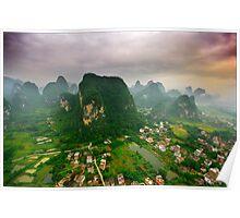 Descending Over Yangshuo Poster